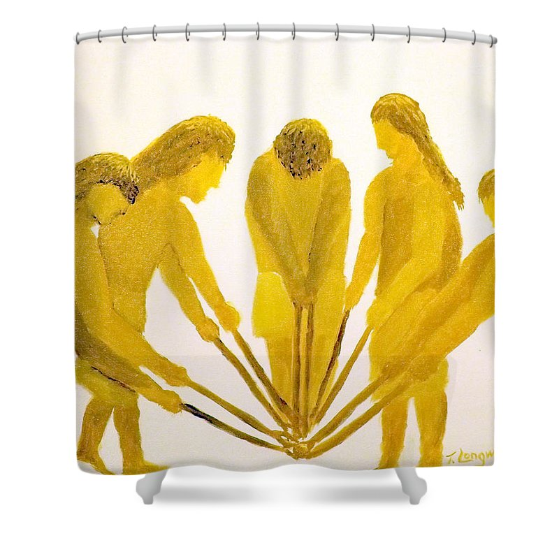 Stick Shower Curtain featuring the painting Loose Ball Third In Stickball Series by Tim Longwell