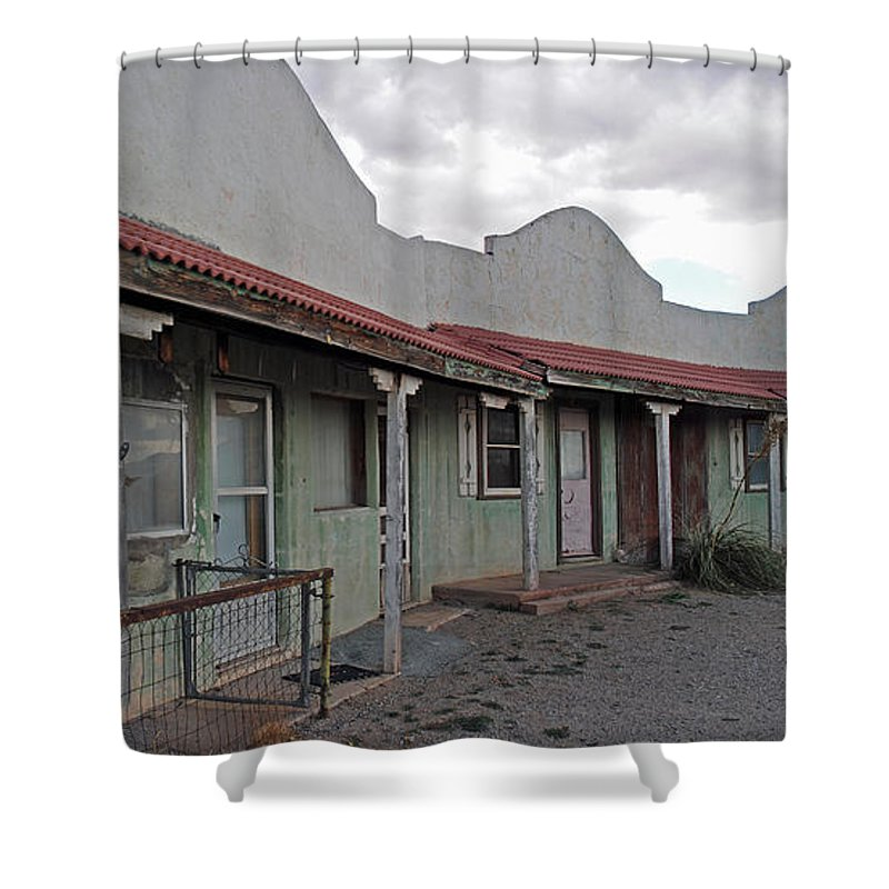 Abandoned Building Shower Curtain featuring the photograph Lordsburg Nm Hotel 1 by Jeff Brunton