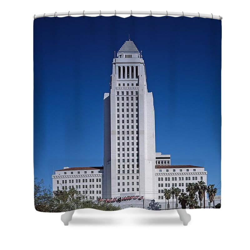 Los Angeles Shower Curtain featuring the photograph Los Angeles City Hall by Mountain Dreams