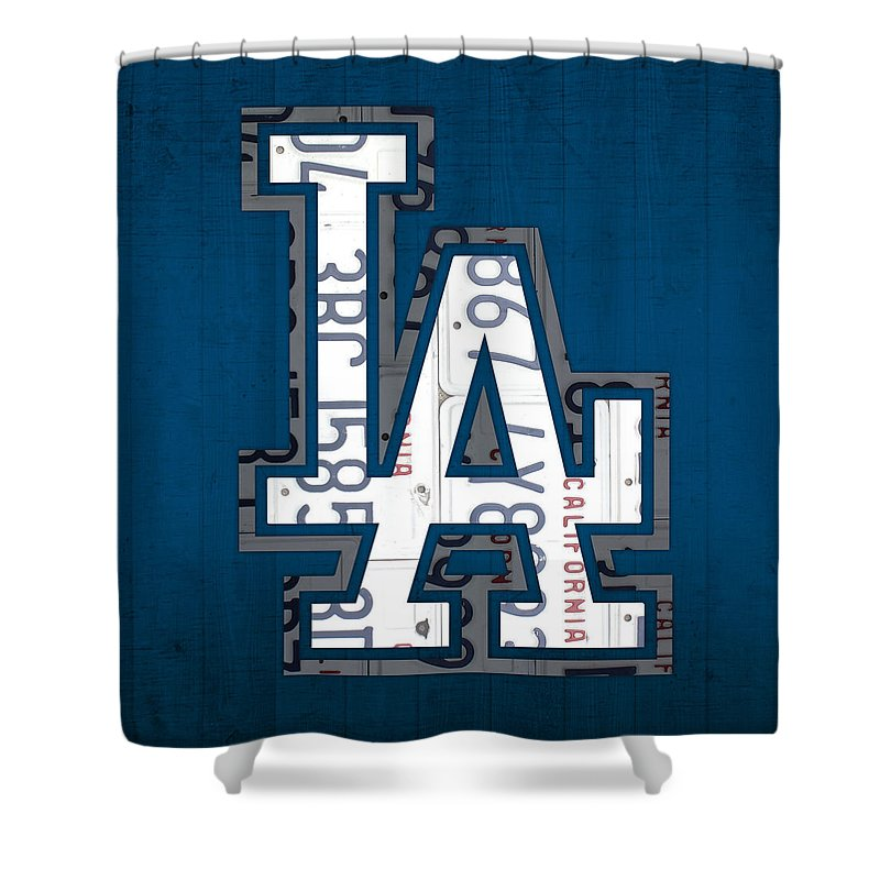 Los Shower Curtain Featuring The Mixed Media Angeles Dodgers Baseball Vintage Logo License Plate Art
