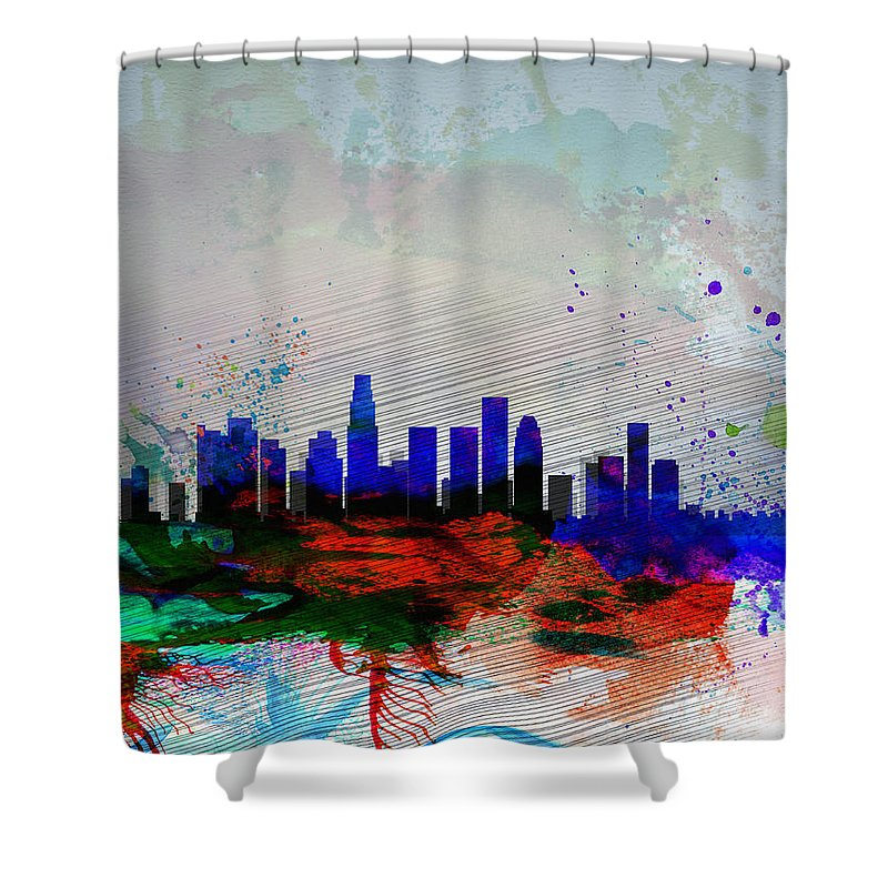 Los Angeles Shower Curtain featuring the painting Los Angeles Watercolor Skyline 1 by Naxart Studio