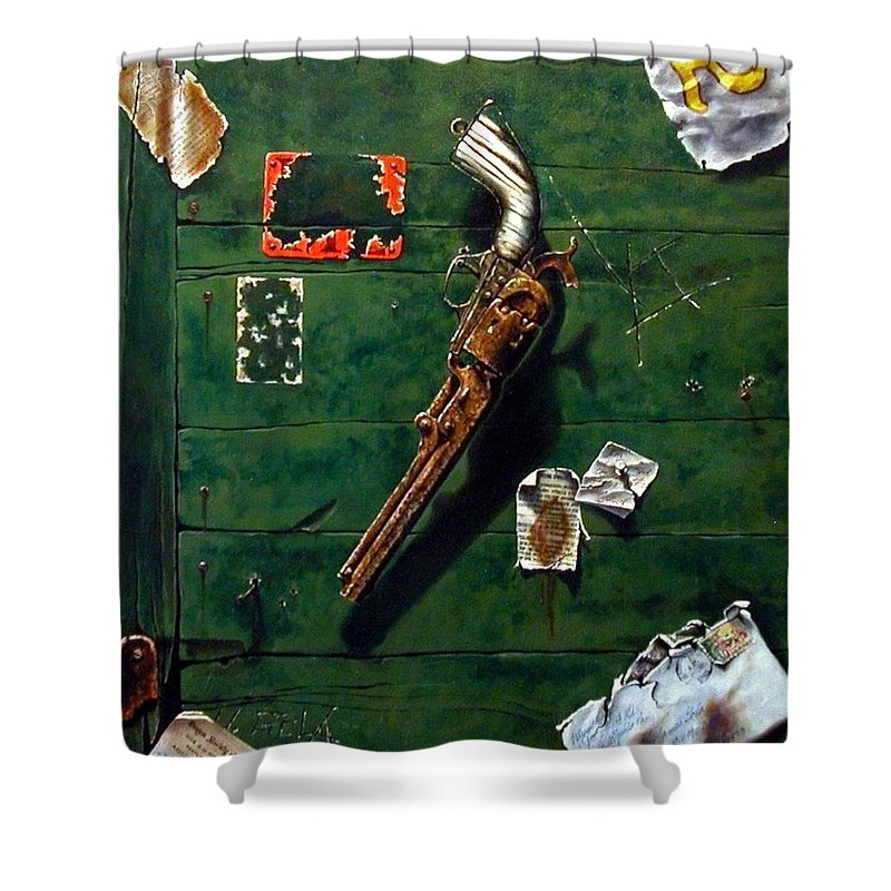 Trompe Le Oil Shower Curtain featuring the painting Lost And Found by Jim Gola