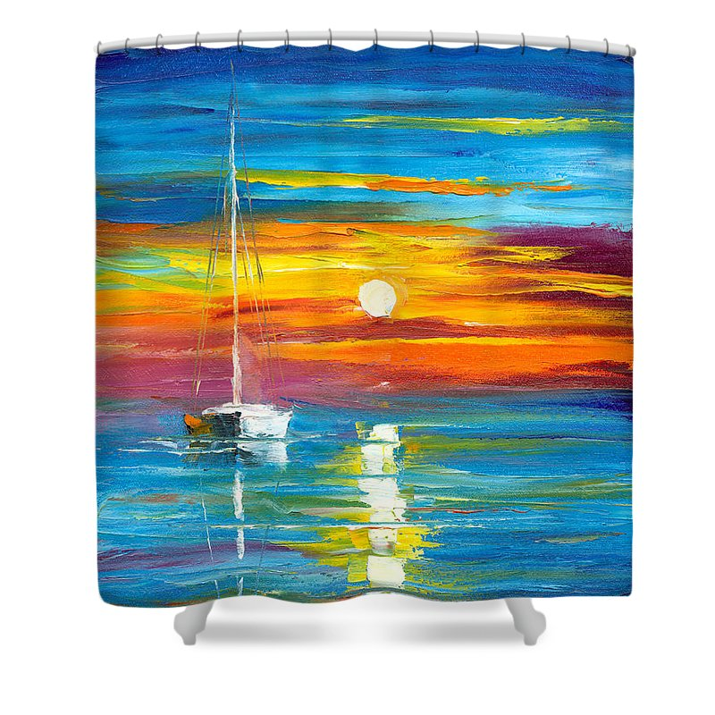 Seascape Shower Curtain featuring the painting Lost At Sea by Jessilyn Park