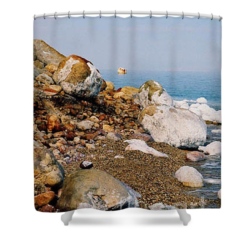 Dead Sea Shower Curtain featuring the photograph Lot's Wife by Kathy McClure