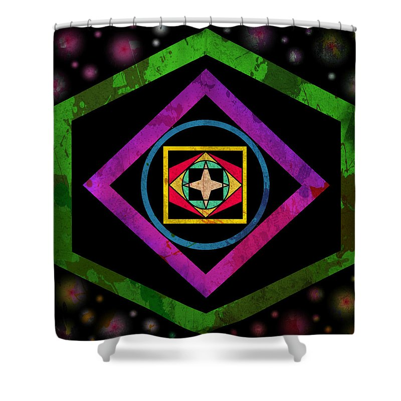 Tribal Shower Curtain featuring the digital art Lotus Flower by Alexander Ladd