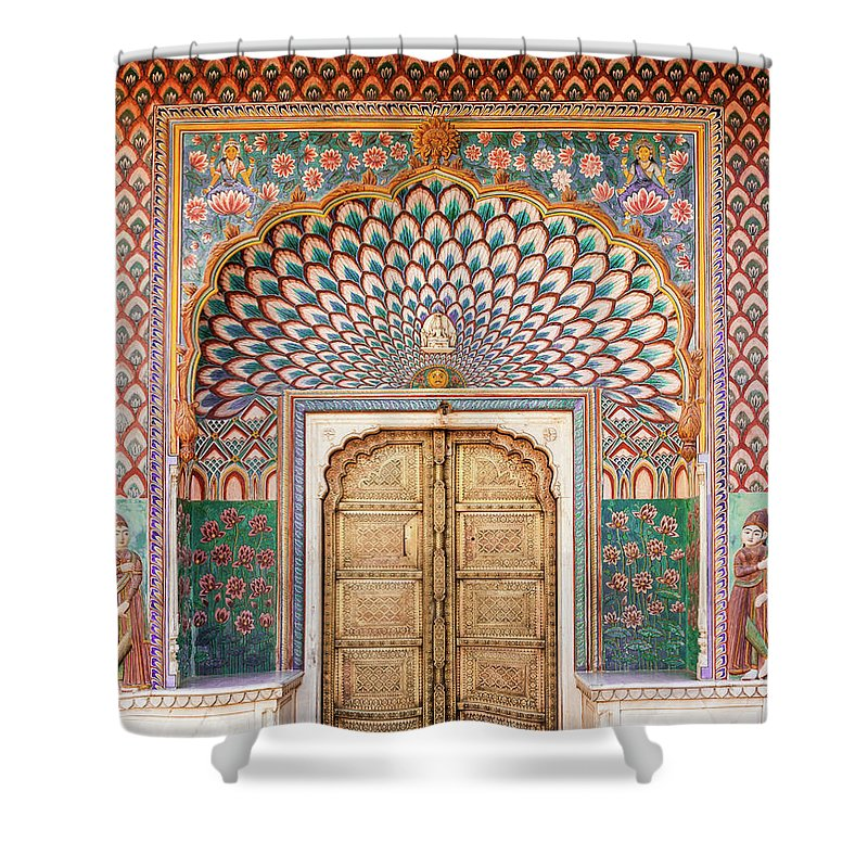 Arch Shower Curtain featuring the photograph Lotus Gate In Jaipur City Palace by Hakat