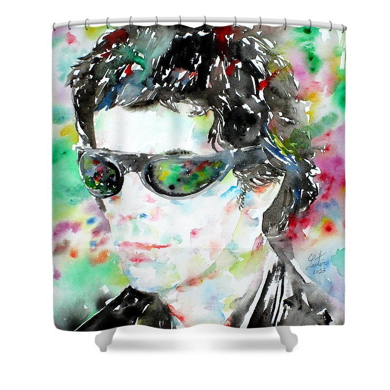 Lou Reed Shower Curtain featuring the painting Lou Reed Watercolor Portrait.2 by Fabrizio Cassetta