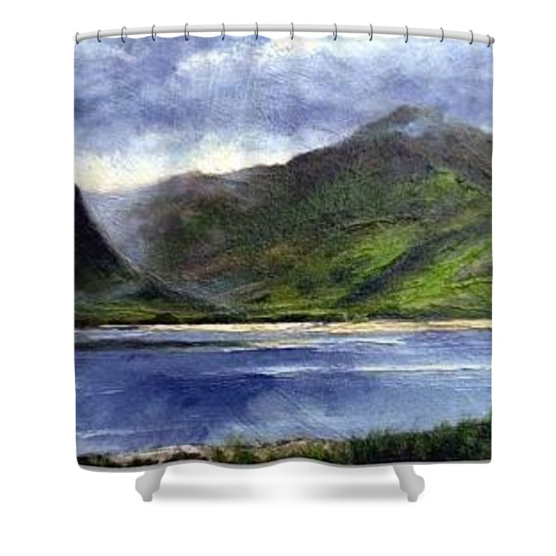 Irish Shower Curtain featuring the painting Loughros Bay Ireland by Jim Gola