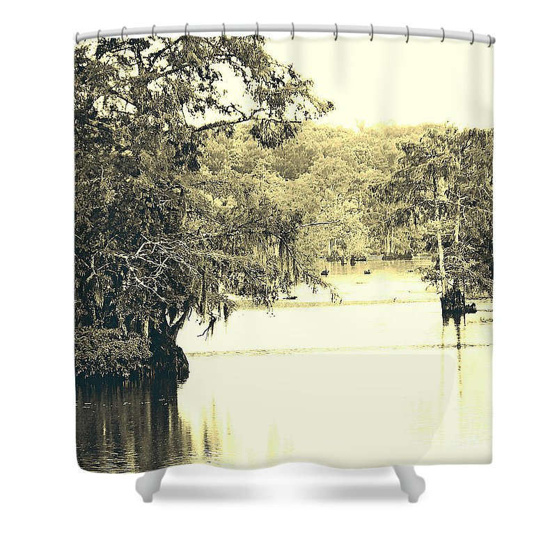 Cypress Shower Curtain featuring the photograph Louisiana Chicot State Park by Lizi Beard-Ward