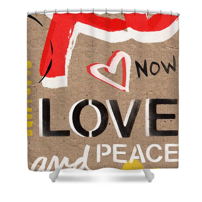 Love Shower Curtain featuring the painting Love And Peace Now by Linda Woods