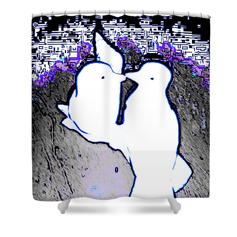 Woman Shower Curtain featuring the digital art Love Birds Iv by Lady Ex