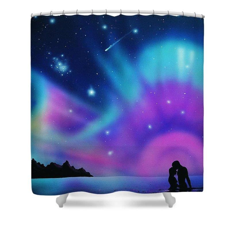 Aurora Borealis Shower Curtain featuring the painting Love by the Aurora Borealis by Thomas Kolendra