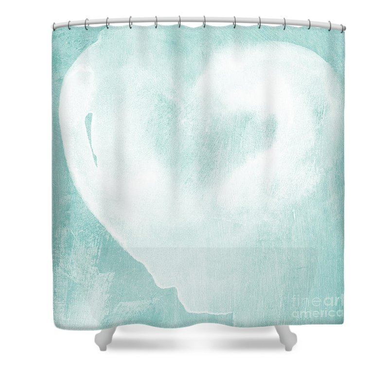 Love Shower Curtain featuring the mixed media Love In Aqua by Linda Woods