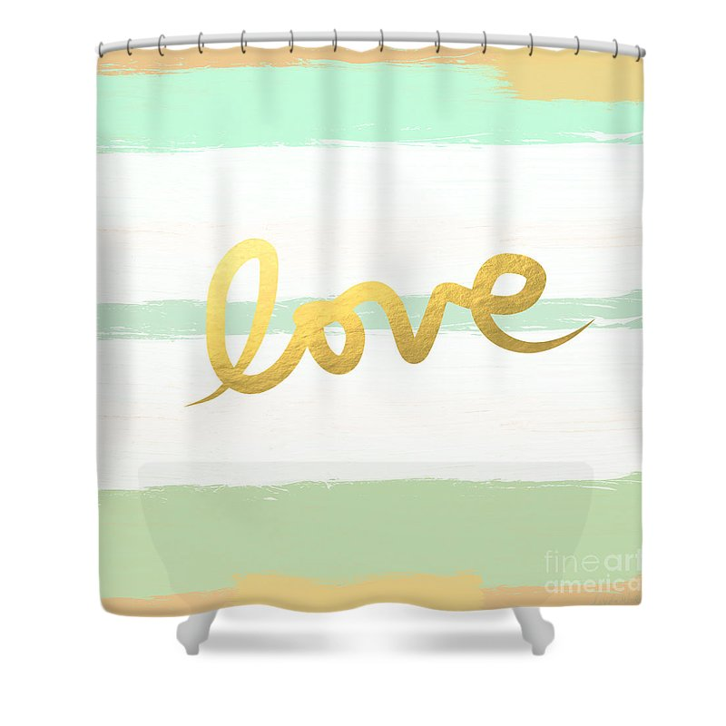 Love Shower Curtain featuring the painting Love in Mint and Gold by Linda Woods