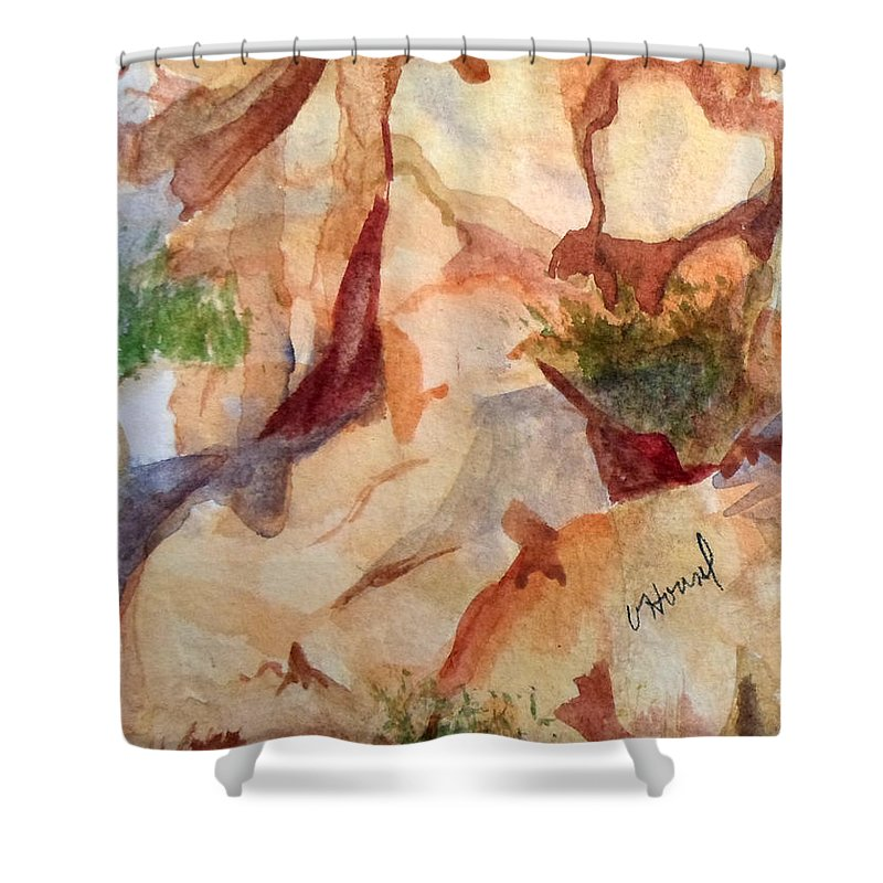 Heart Shower Curtain featuring the painting Love In The Rocks Medjugorje 2 by Vicki Housel