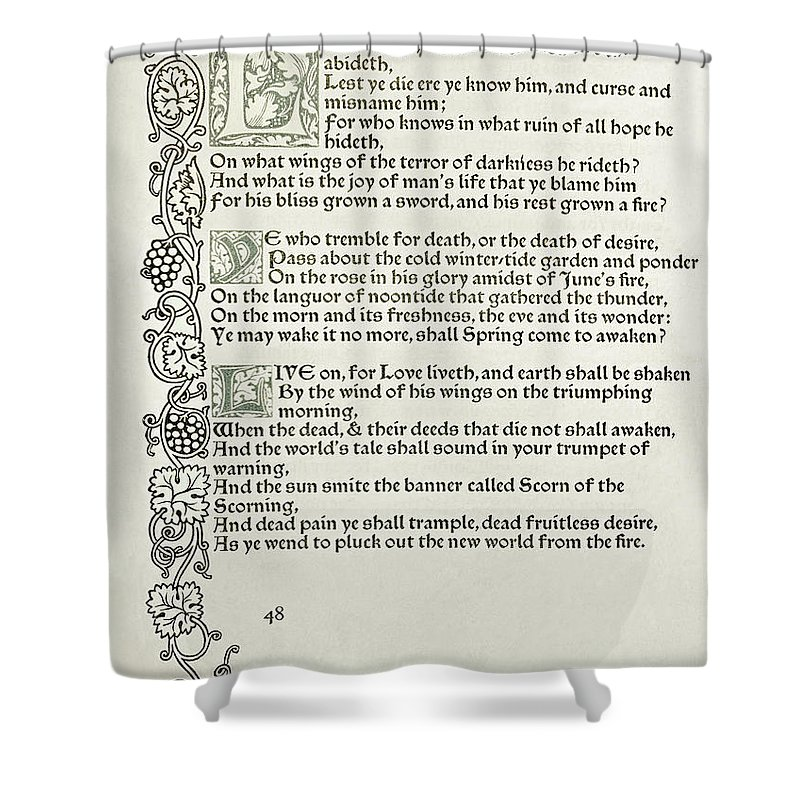 Private Presses Shower Curtain featuring the drawing Love Is Enough by William Morris