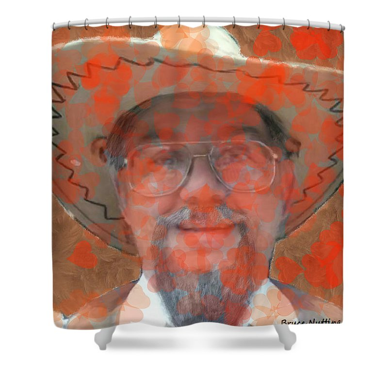 Red Shower Curtain featuring the painting Love Is In The Air by Bruce Nutting