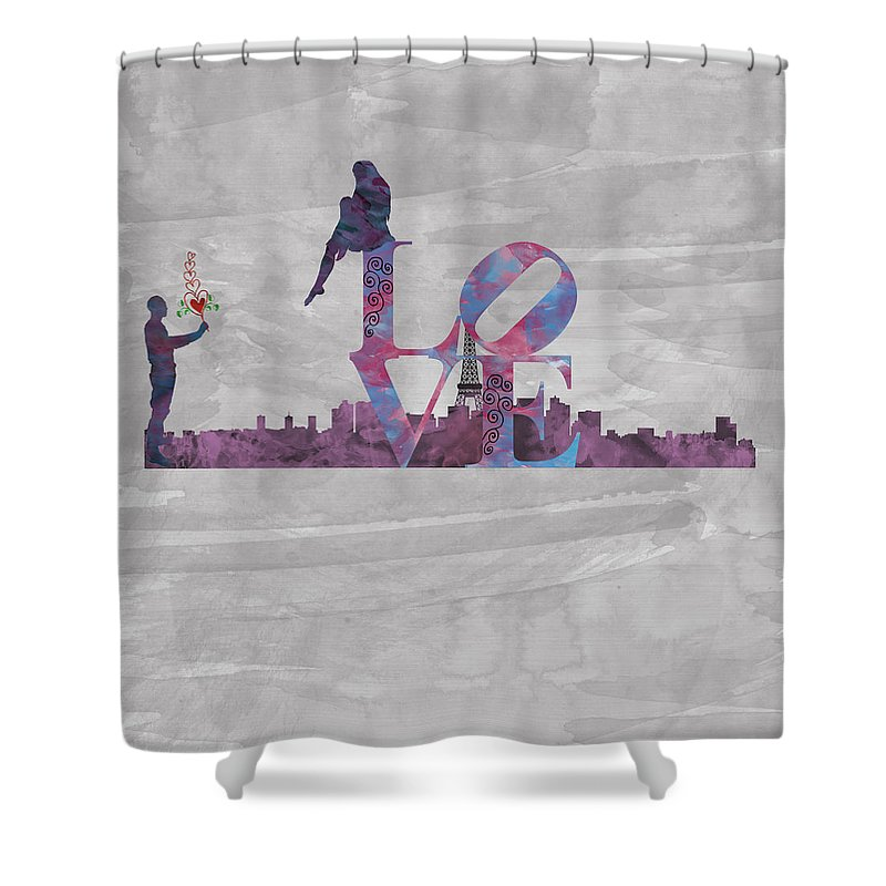 Lady Shower Curtain featuring the digital art Love Over Paris by Becca Buecher
