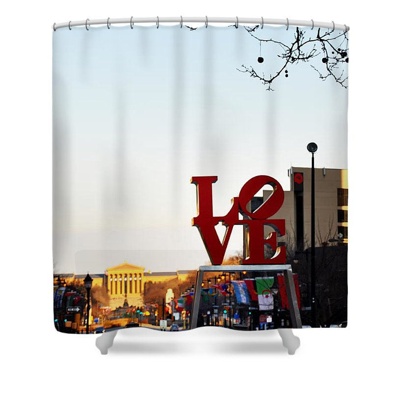 Love Shower Curtain featuring the photograph Love Statue And The Art Museum by Bill Cannon