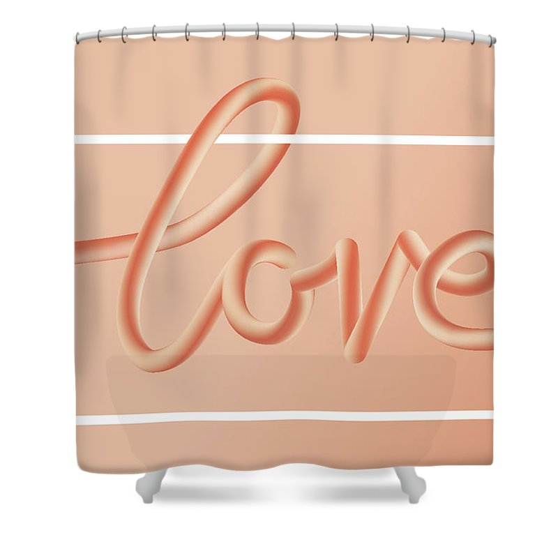 Home Decor Shower Curtain featuring the digital art Love Text Lettering In Red Color by Apagafonova