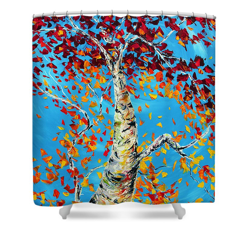 Tree Shower Curtain featuring the painting Love That Reaches 2 by Meaghan Troup