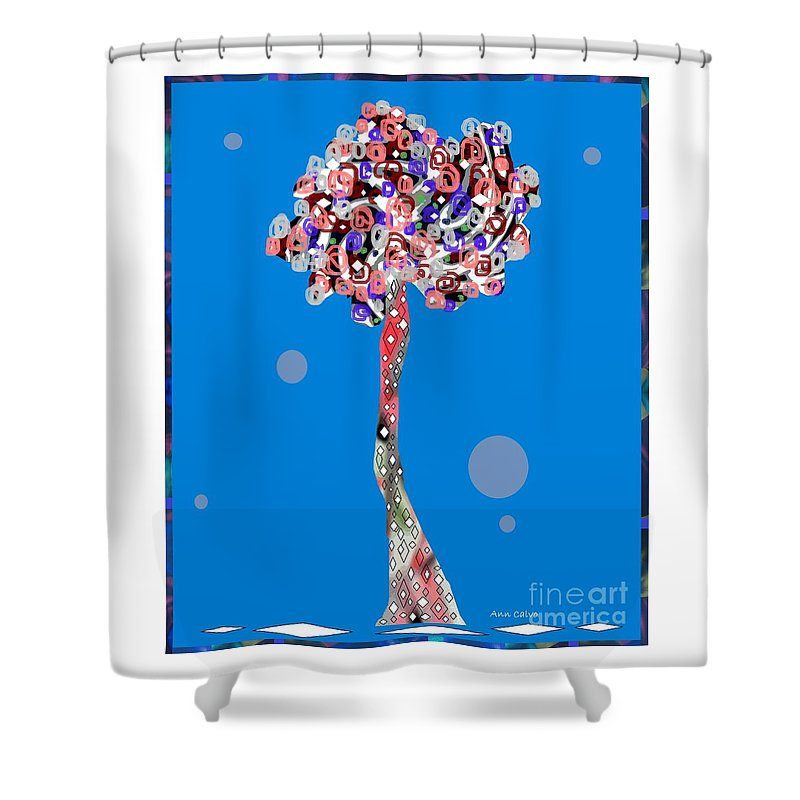 Home D�cor Shower Curtain featuring the mixed media Love Tree by Ann Calvo
