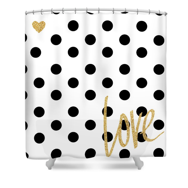 Love Shower Curtain featuring the digital art Love With Dots by South Social Studio