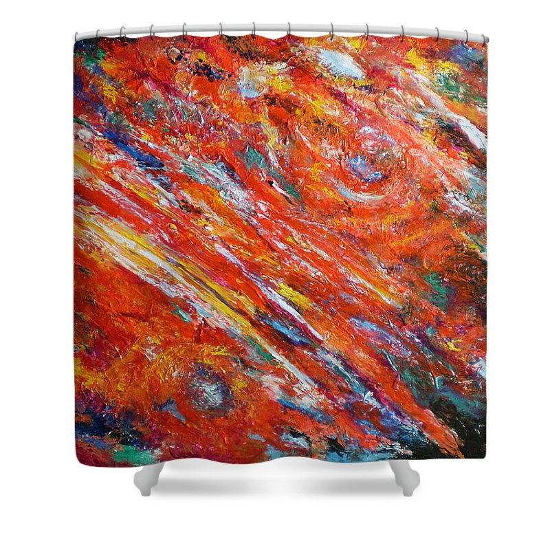 Abstract Shower Curtain featuring the painting Loves Fire by Michael Durst