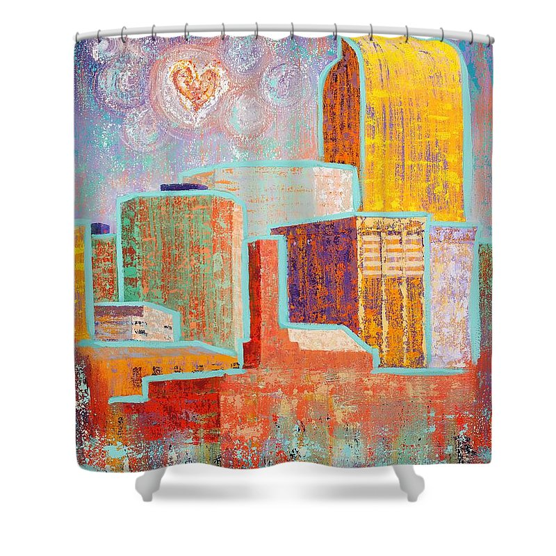 Cityscape Shower Curtain featuring the painting Loving It In Denver by Margaret Bobb