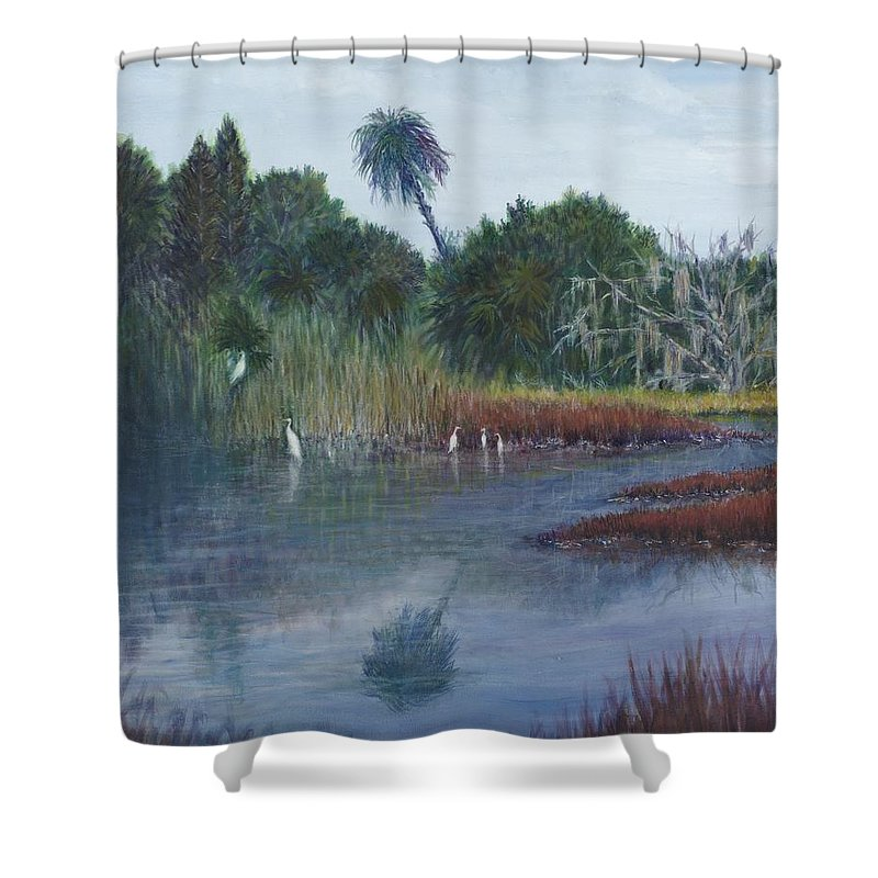 Landscape Shower Curtain featuring the painting Low Country Social by Ben Kiger