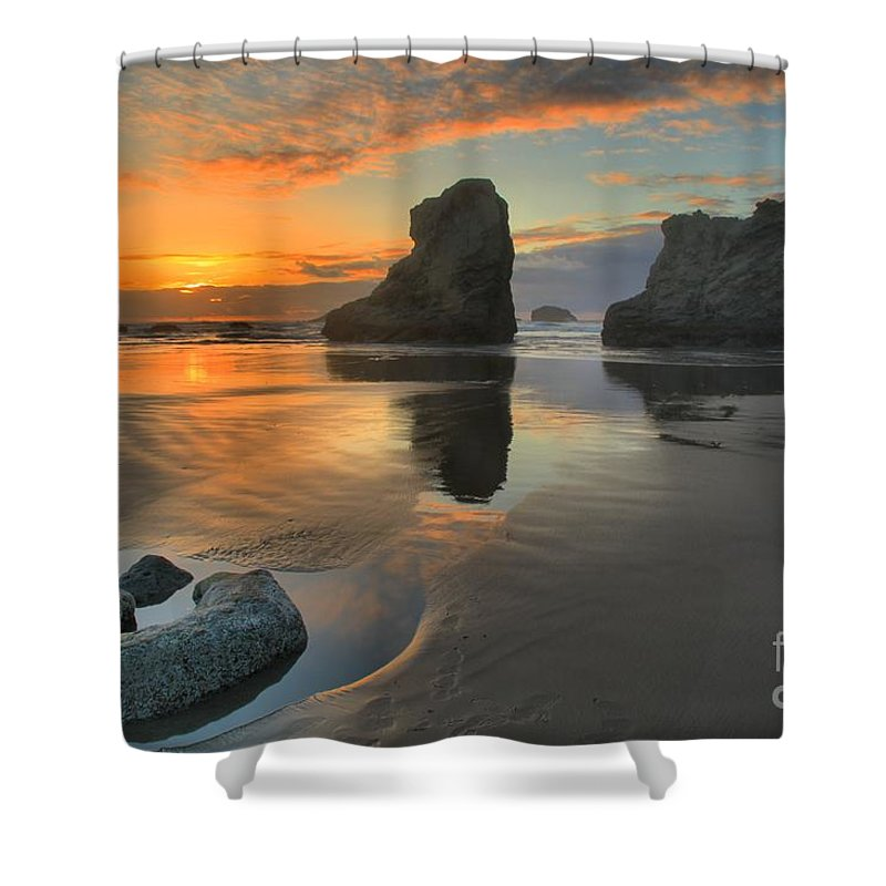 Bandon Beach Shower Curtain featuring the photograph Low Tide Giants by Adam Jewell