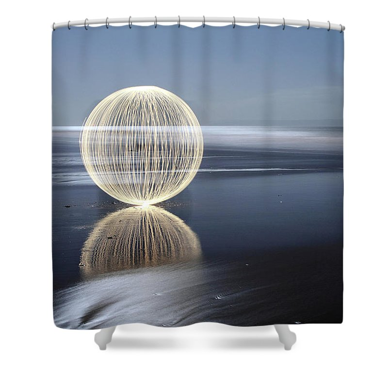 Light Painting Shower Curtain featuring the photograph Low Tide Reflection by Andrew John Wells