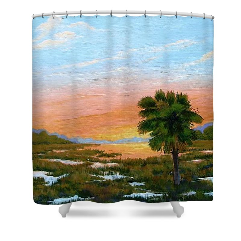 Landscape Shower Curtain featuring the painting Lowcountry Sunrise by Jerry Walker