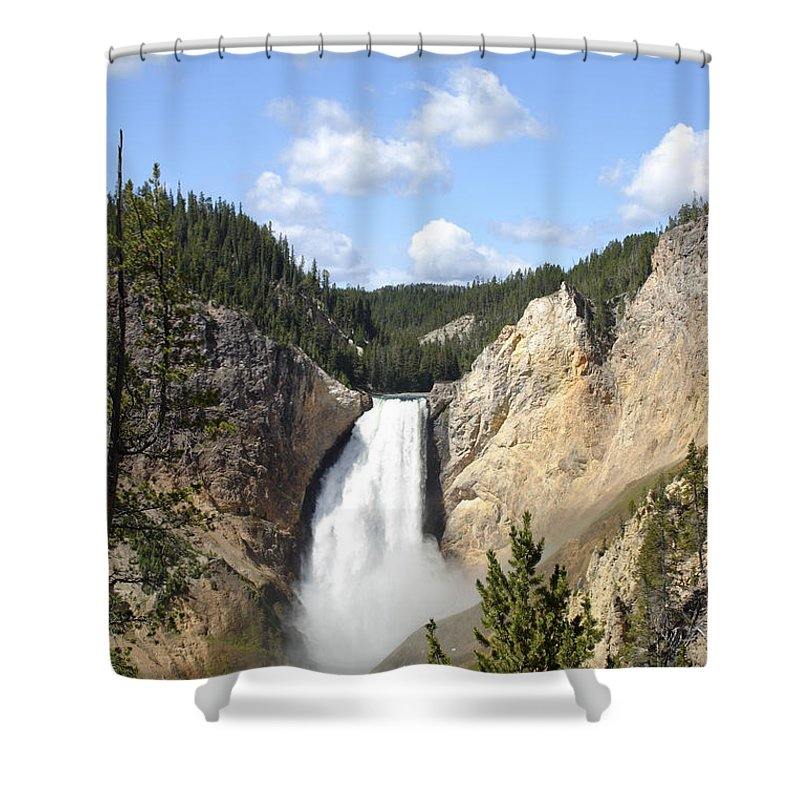 Scenic Shower Curtain featuring the photograph Lower Falls In Yellowstone National Park by Rick Pisio