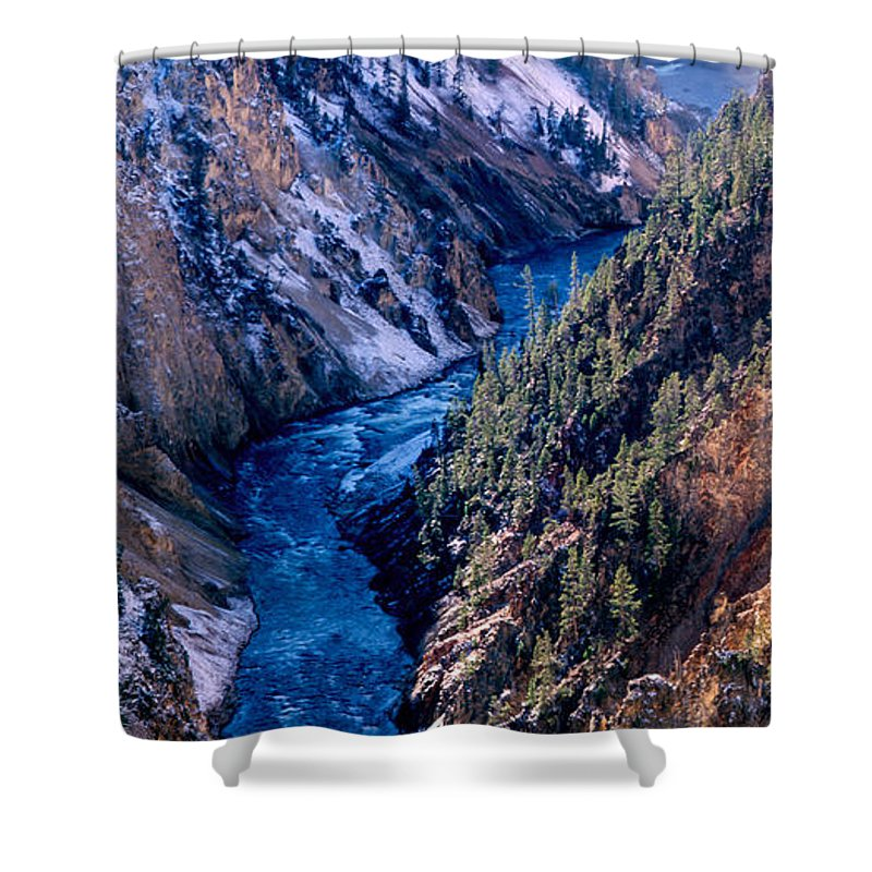 Lower Falls Shower Curtain featuring the photograph Lower Falls Into Yellowstone River by Tracy Knauer