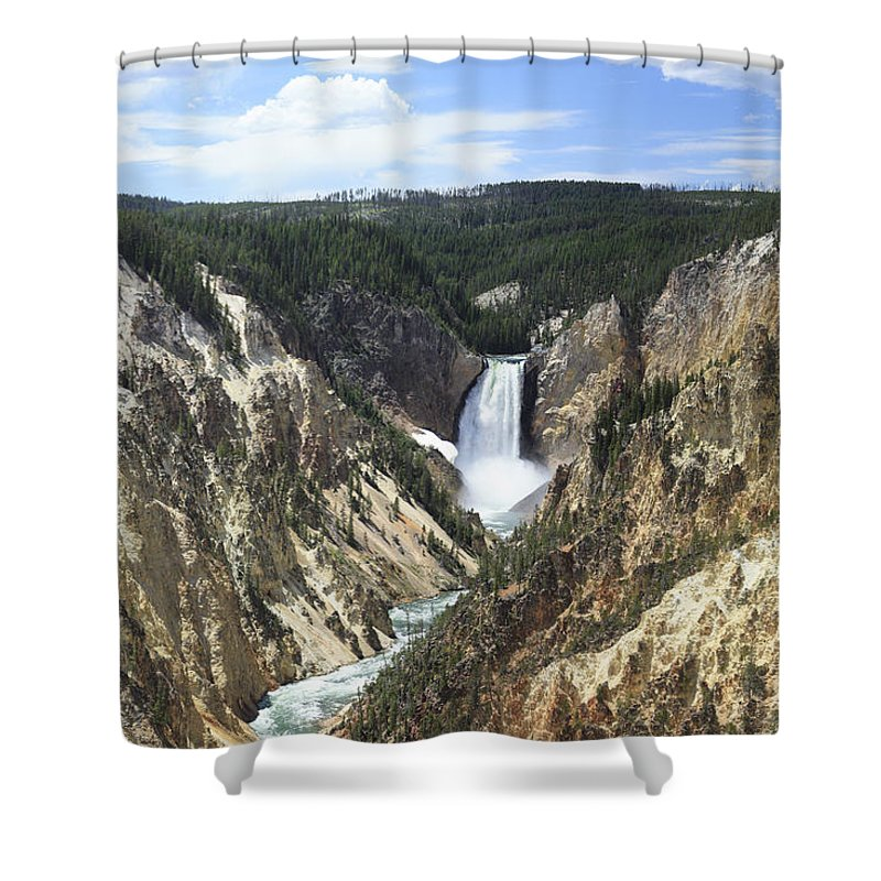 Yellowstone Shower Curtain featuring the photograph Lower Falls Of The Yellowstone by Margie Wildblood