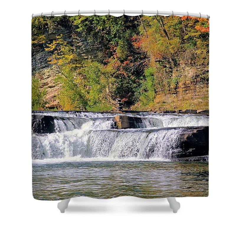 High Falls Shower Curtain featuring the photograph Lower Falls by Robert McCulloch