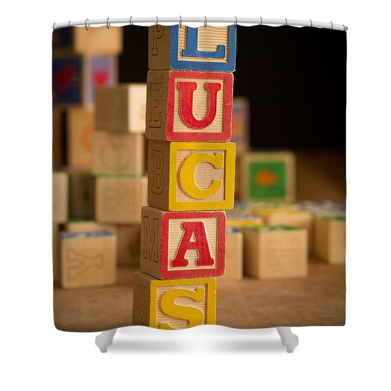 Alphabet Shower Curtain featuring the photograph Lucas - Alphabet Blocks by Edward Fielding