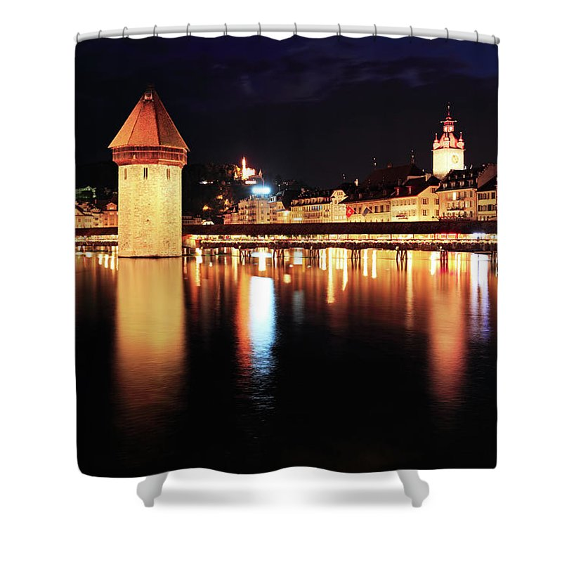 Standing Water Shower Curtain featuring the photograph Lucerne, Switzerland by Rusm