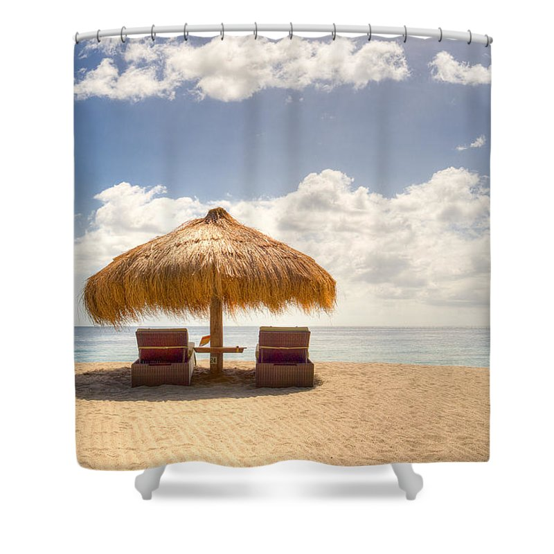 Anse Chastenet Shower Curtain featuring the photograph Lucian Beach Hut by Ferry Zievinger