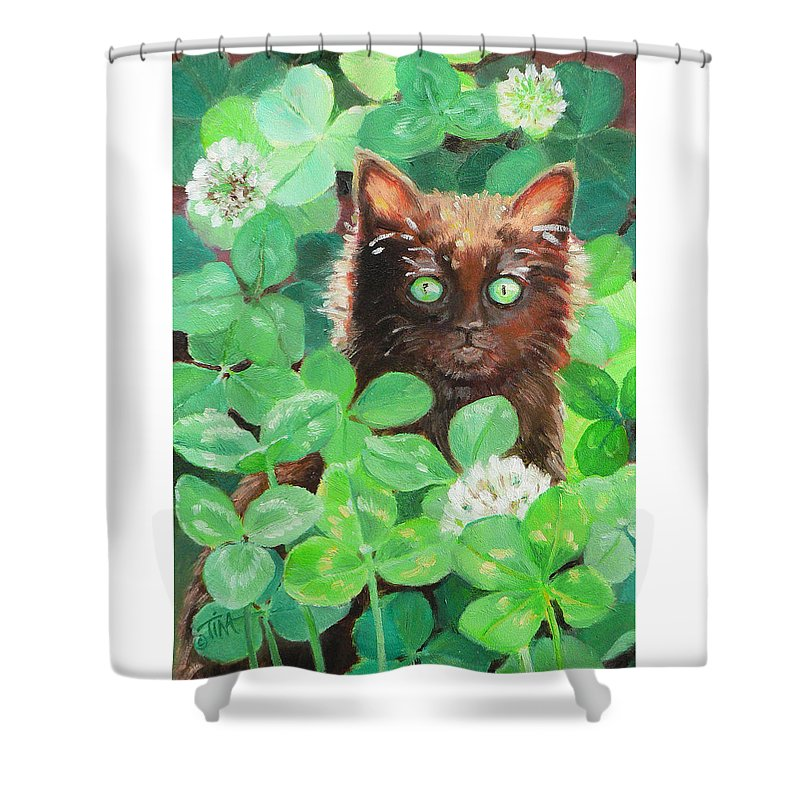 Black Cat Shower Curtain featuring the painting Lucky by Tina Welter