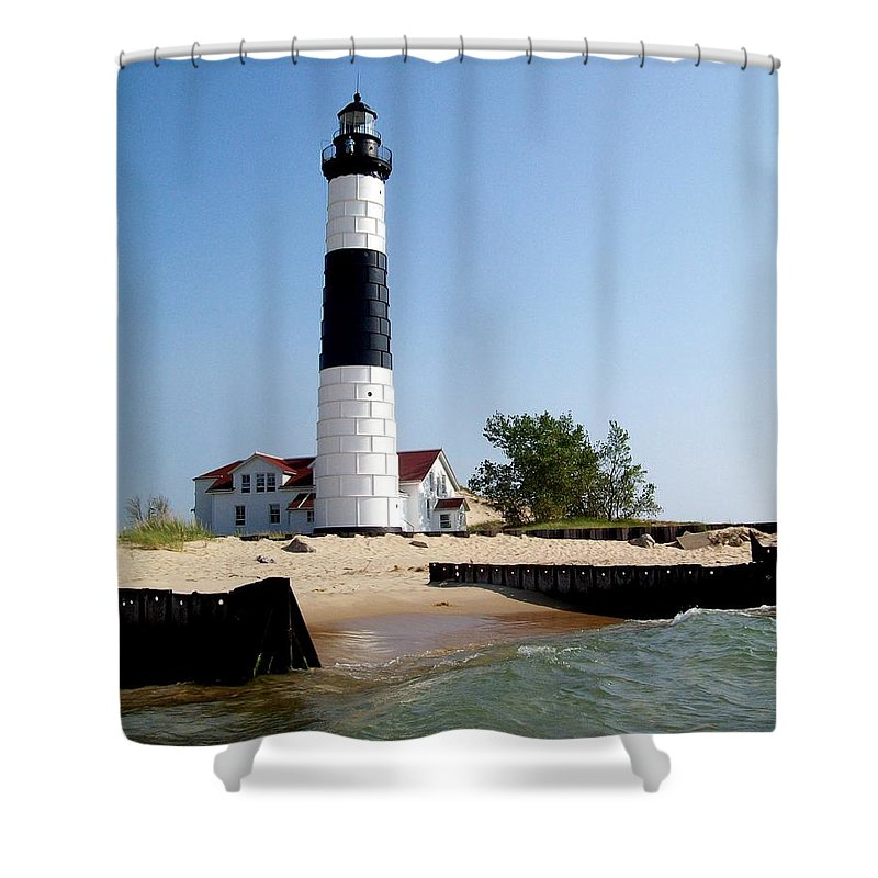 Lighthouse Shower Curtain Featuring The Photograph Ludington Michigans Big Sable By Michelle Calkins
