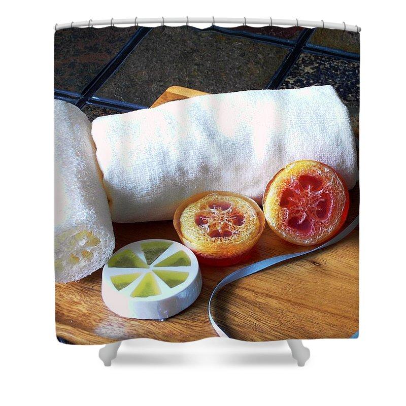 Orange Shower Curtain featuring the photograph Luffa Soap by Anastasiya Malakhova