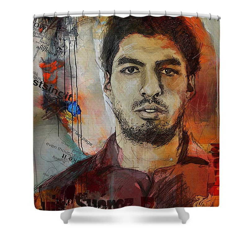 Luis Suarez Shower Curtain featuring the painting Luis Suarez by Corporate Art Task Force