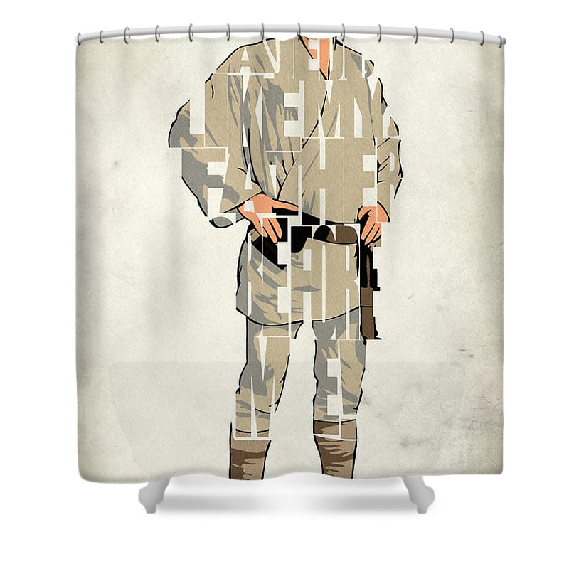 Luke Skywalker Shower Curtain featuring the digital art Luke Skywalker - Mark Hamill by Inspirowl Design