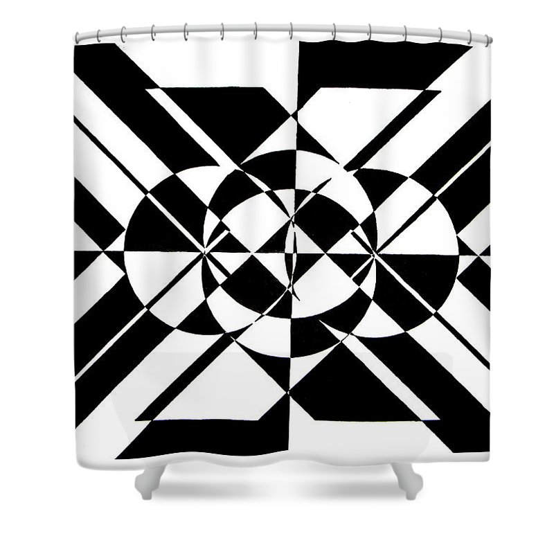 Abstract Shower Curtain featuring the painting Lunar City by Crystal Hubbard