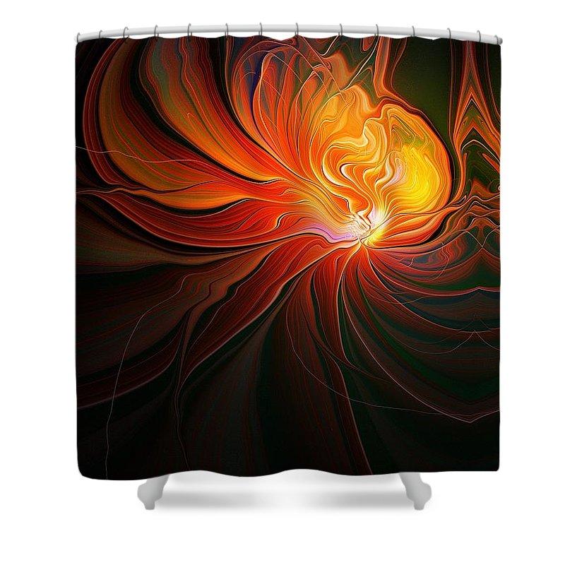 Digital Art Shower Curtain featuring the digital art Lunar Lotus by Amanda Moore