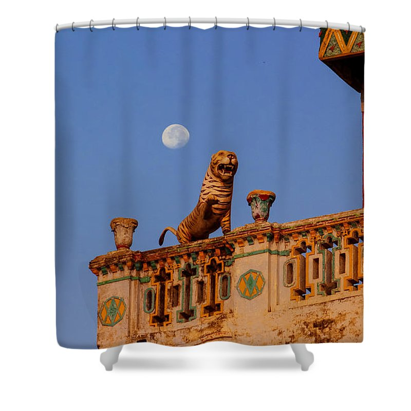 Lunar Shower Curtain featuring the photograph Lunar Powered by Gaurav Singh