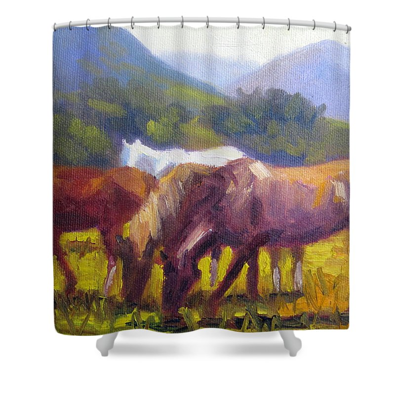 Horse Shower Curtain featuring the painting Lunch by Terry Chacon