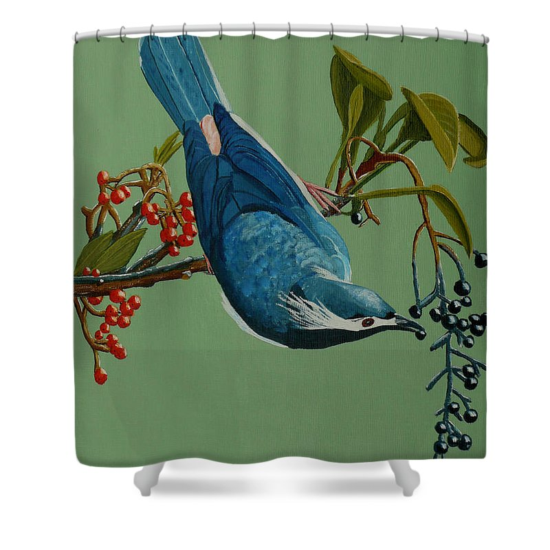 Bird Shower Curtain featuring the painting Lunch Time For Blue Bird by Anthony Dunphy